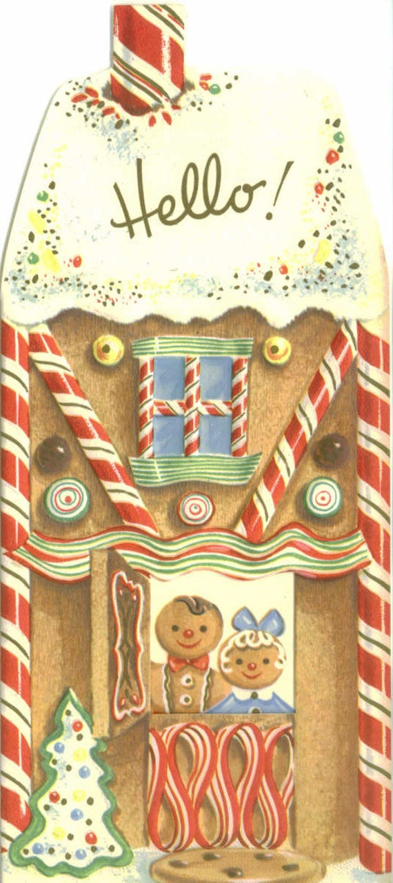 Gingerbread House, Vintage Christmas Card, Happy Day
