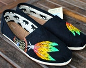 Custom Hand Painted TOMS -- Rasta Dream Catcher on Black Canvas Classic TOMS Shoes -- Customizable - Red Yellow Green Painted Feathers