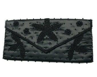 Vintage Black Beaded Satin Clutch Purse