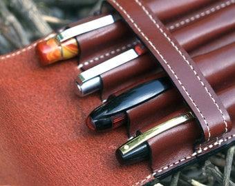 Vegetable Tan Leather Quadruple Pen Case Cordovan