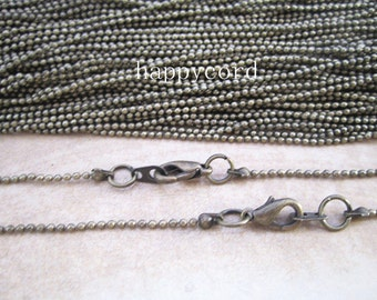100pcs  1.2mm  Antique bronze ball necklace chain with Lobster Clasp 18inch