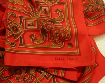 vintage  'Ellen Tracy' very large square silk scarf