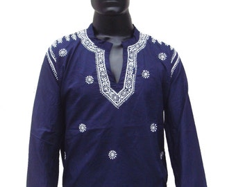 Mens personalized halloween shirt kurta pattern Navyblue dress in plus size boho viking tunic hand embroidered gypsy fiinds unique gift idea