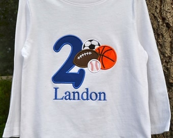 Sports Birthday Shirt with birthday number and monogram