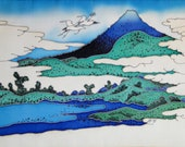 Original Painting on Silk - CRANES - Cold batik. Free shipping. MADE TO OrDeR Japanese landscape