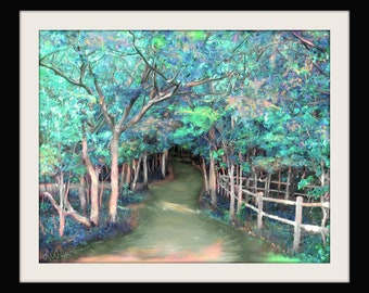Tree Art Trees Forest Pathway Path Oil Painting Print Lake of the Clouds Landscape 16x20 11x14 8x10 5x7 Turquoise Blue Green Peach Aqua