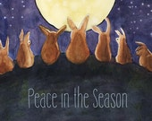 Holiday Rabbit Greeting Cards - set of 12 - Peace in the Season - VERY LAST PACK