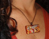 "Colorful Tree ""Be Original"" Bird Recycled Domino Pendant Necklace With Swarovski Crystal Bling"
