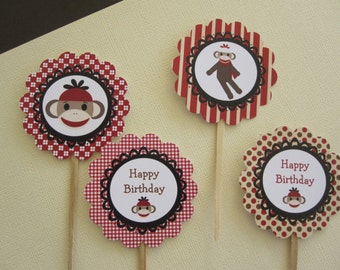 Sock Monkey Cupcake Toppers ~ Appetizer Picks ~ Set of 12