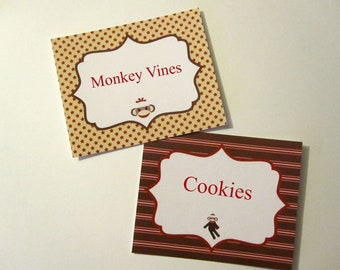 Sock Monkey Food Labels/Tags ~ Personalized ~ Set of 6
