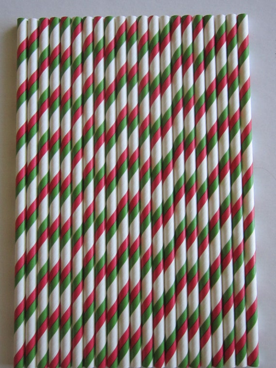 25 Red & Green Double Striped Paper Drinking Straws