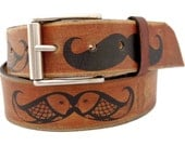 Moustache brown leather belt - Handmade belt - Gift for man - Gift for her