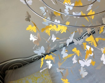 Butterfly baby mobile -Mustard yellow, light gray and white colors