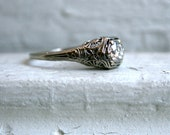 RESERVED - Beautiful Vintage 14K White Gold Diamond Engagement Ring