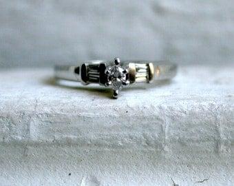Vintage Platinum Marquise Diamond Engagement Ring.