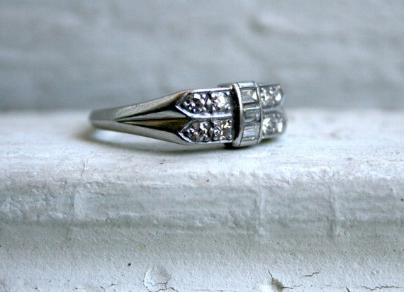 RESERVED - Vintage Art Deco Platinum Diamond Band - 0.50ct.