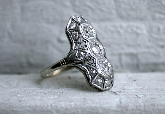 RESERVED - Amazing Art Deco Platinum Diamond Ring - 1.32ct.