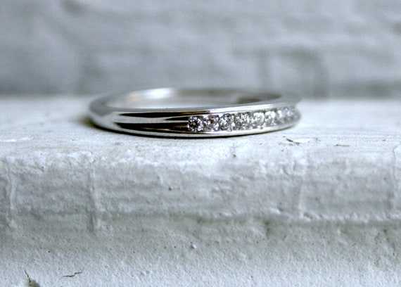 RESERVED - Vintage Fluted 14K White Gold Diamond Wedding Band