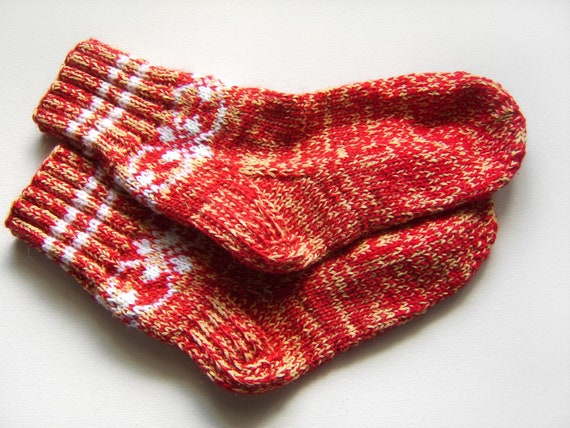 Hand Knitted Wool Socks - Red and Yellow, Medium