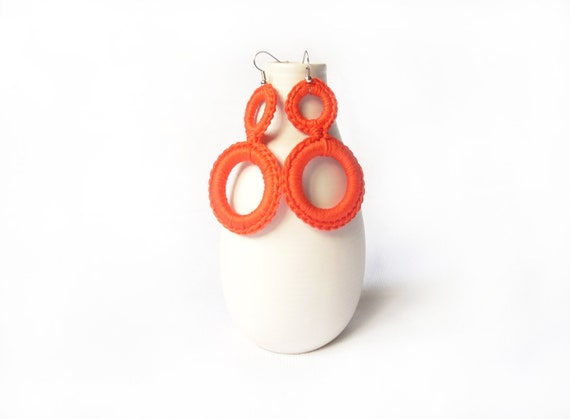 Earrings tangerine cotton crochet. Handmade textile jewelry by Aliquid