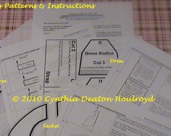 """PART #3 Option D - PATTERNS for Dress, Purse, and Jacket for 18"""" CDH """"Three Blind Mice..."""" Dolls"""