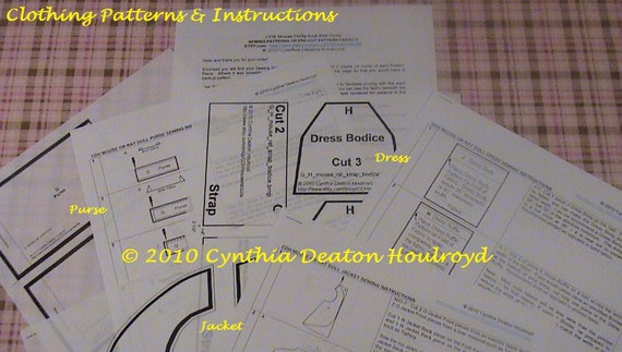 "PART #3 Option D - PATTERNS for Dress, Purse, and Jacket for 18"" CDH ""Three Blind Mice..."" Dolls"