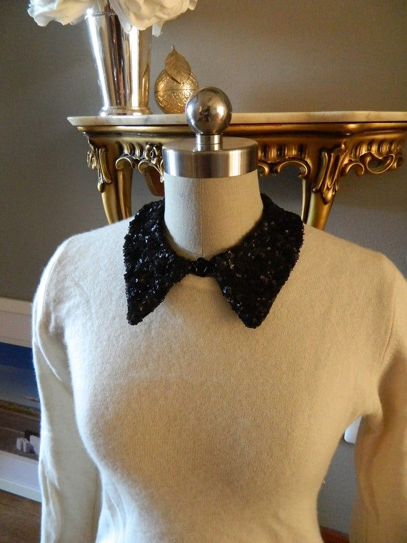 LAST ONE - Black Sequin Pointed Peter Pan Collar Necklace, Jewelry Clasp Closure and and Black Resin Rose Embelishment