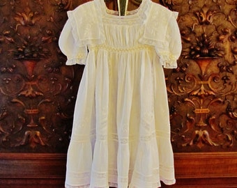 Antique girl's white special occasion dress, Edwardian lace trimmed girl's dress with silk ribbons, early 1900's girl's white lawn dress