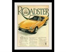 1978 TRIUMPH Spitfire Yellow Car Ad, Vintage Advertising Wall Art Decor Print