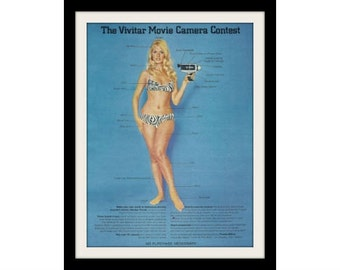 "1969 VIVITAR Super 8 Camera Ad ""Marilyn Tindall"" Vintage Advertising Print"