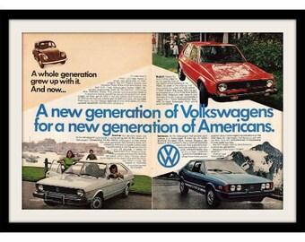 "1977 VOLKSWAGEN Beetle Bug, Dasher, Rabbit Ad ""Year Line Up"" Vintage Advertisement Print"