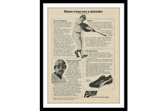 1978 Puma & Reggie Jackson Baseball Ad, Vintage Advertisement Print