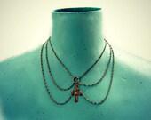cross chain collar, peterpan collar, cross necklace, crucifix, body chain, body jewelry