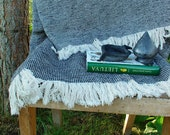 Linen Blanket SLATE GREY--Vintagelook Throw--for Rustic or Beach Cottage Home & Outdoor Decor