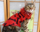 Cat Coat Fleece Red Black, Teacup Dog Clothes, Reversible Pet Jacket, Knit Collar