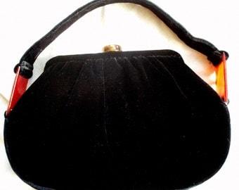 SALE Vintage Black Velvet Purse w/ Bakelite