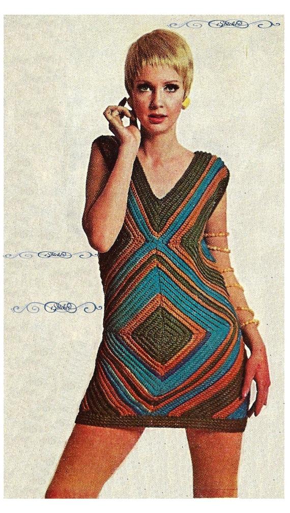 1970s Mini Granny Square Dress Great Beginner Crochet