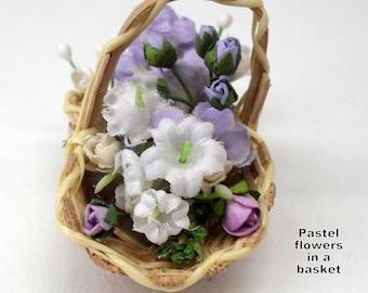 Miniature Dollhouse Basket of Lilac flowers (1/12)