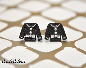 Black & White Pyjamas Top Post Stud Earrings