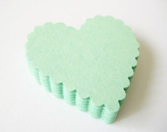 25 MINT GREEN Scallop Hearts Die cuts punches cardstock 1 5/16 inch -Scrapbook, cards, embellishment, confetti