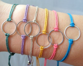 Karma Circle eternity infinity Unity Bracelet - (Set of 6) Blue, Purple, Natural, Midnight Green, Coral, Mustard Yellow