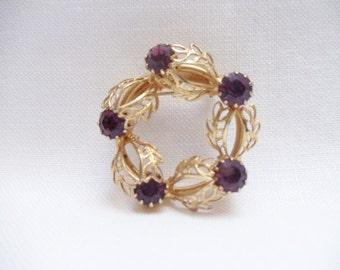 Vintage Circle Brooch Amethyst Purple Rhinestones Filigree
