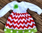 Christmas Chevron and polka dot dress