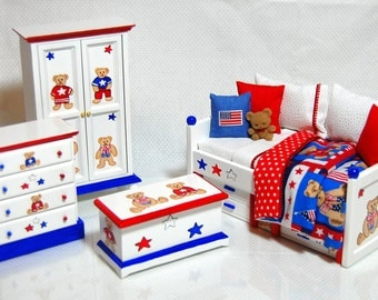 ALL AMERICAN BEAR Dollhouse Miniature Boys Twin Bedroom Set Hand-Painted 4pc Red White Blue Teddy Bear Set 1:12 Custom Dressed