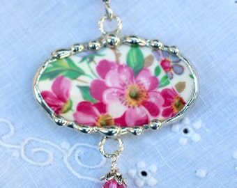 Necklace, Broken China Jewelry, Broken China Necklace, Oval Pendant, Pink Floral Chintz, Sterling Silver, Soldered Jewelry
