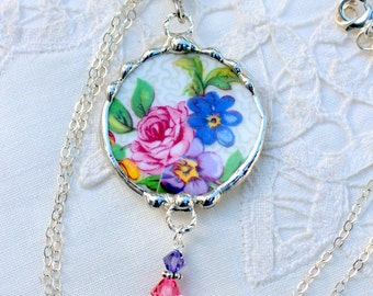 Necklace, Broken China Jewelry, Broken China Necklace, Pink and Blue Floral Chintz, Sterling Silver, Soldered Jewelry