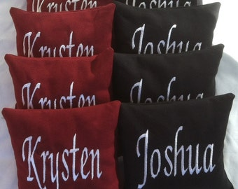 Embroidered Personalized Corn Hole Bags - Set of 8