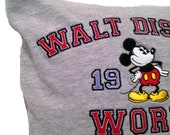 Walt Disney upcycled gray Tshirt pillow cover - 16 x16 inch pillow case