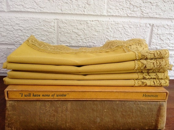 Set of 5 Vintage Mustard Yellow Lace-Trimmed Handkerchiefs/Napkins