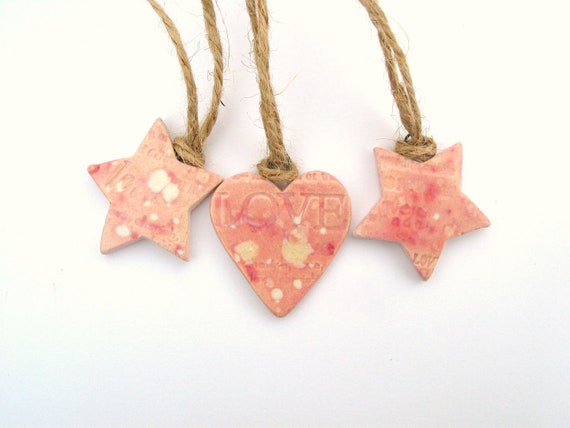 Pink Holiday ornaments pink stars and heart love words hemp twine Christmas decorations